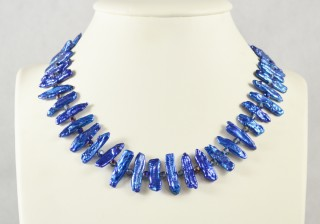 Blue freshwater stick Pearl necklace