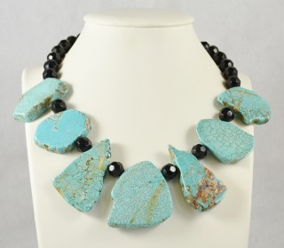 Large Turquoise slabs and French jet glass necklace