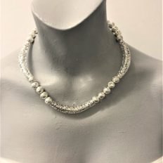 Intricate tubes and electroplated lava beads £45