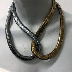 Snaky bead cap necklace , black and bronze – £55