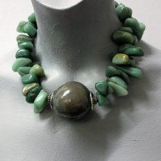 Irregular Burmese Jade stones with large ceramic center piece – £95