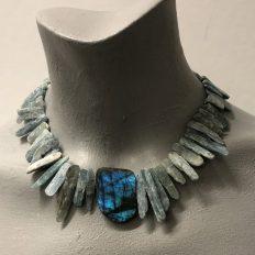 Rough Kyanite and Labradorite stone necklace – £95