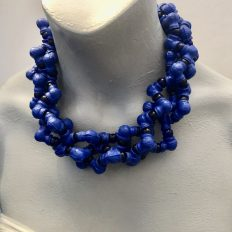 Majorelle blue and clay pipes from Marrakech – three strand necklace – £125