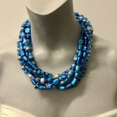 Light blue, 5 strand multi-strand necklace with mainly lamp work glass – £45
