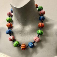Colour wooden pumpkin bead necklace – £25