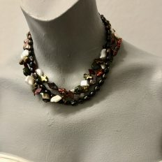 Short, 3 strand variety of colour and shape freshwater Pearls – £55
