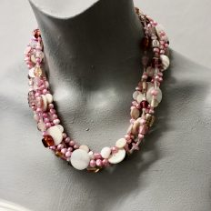 Pink multi-strand with freshwater Pearls, mother of pearl and glass – 5 strands – £45