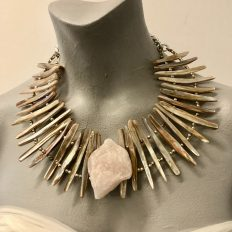 Rose quartz rock with mother of pearl – £125
