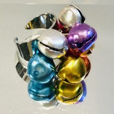 Adjustable ring with colourful bells – £12.50