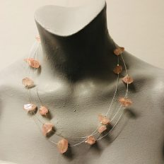 Peach electroplated Rock Crystal on Sterling Silver wire – £95
