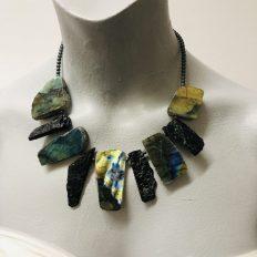 Labradorite with black Tourmaline and Hematite spacer beads – £55